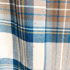 Vintage Skirts - Vintage Pleated Wool Skirt Blue Brown Cream Size 4